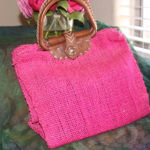Vintage HOT PINK leather and natural fibers bag